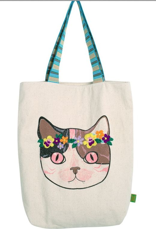 Bag with hand-screen print and embellishment