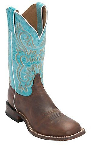 Tony Lama Women's Worn Brown with Turquoise Top Square Toe Western Boot | Cavender's
