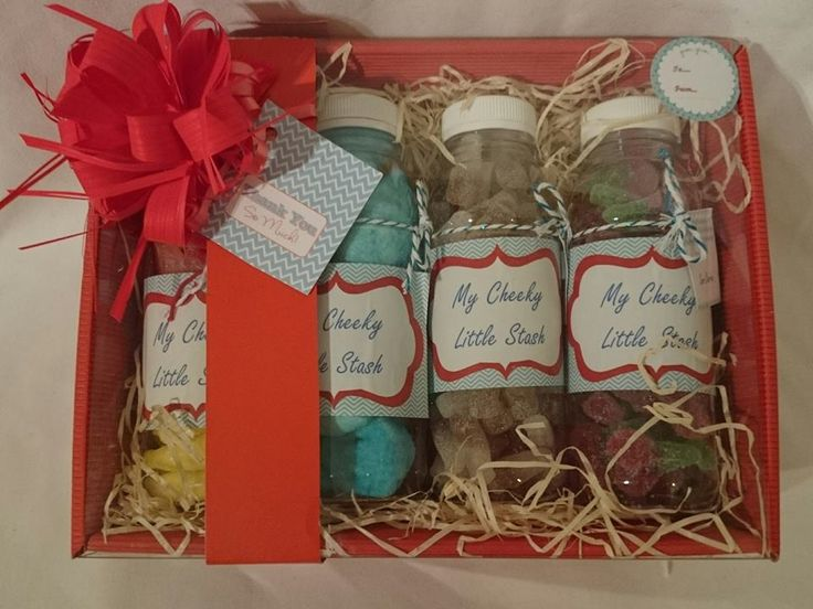 A gorgeous red hamper with four bottles of delicious sweets, with a 'Thankyou' label attached. A perfect gift to say thankyou! Check out my Amazon and Ebay...Just type in 'My Cheeky Little Stash'