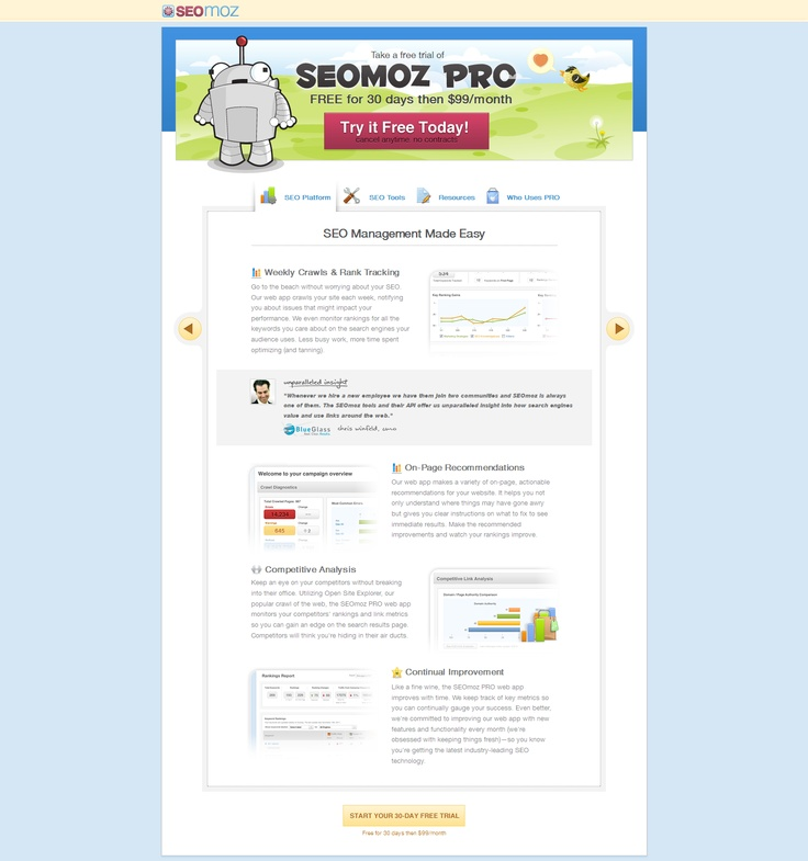 Landing Page SEOmoz, perfeita!