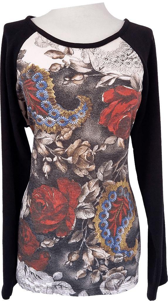 Suéter punto fino, estampado floral. Tallas desde la XL hasta la XXXL.