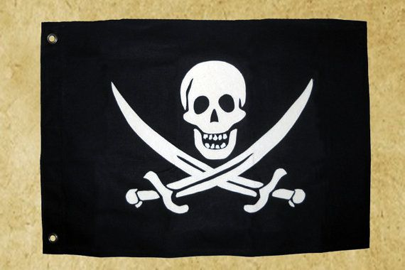 1 1/2' X 2 1/2' Pirate Flag: Reinforced canvas by Libertalia