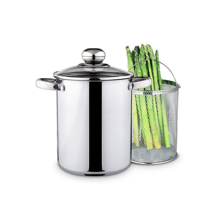 PureLife 4-qt. Stainless Steel Asparagus Pot with Steamer Basket, Multicolor