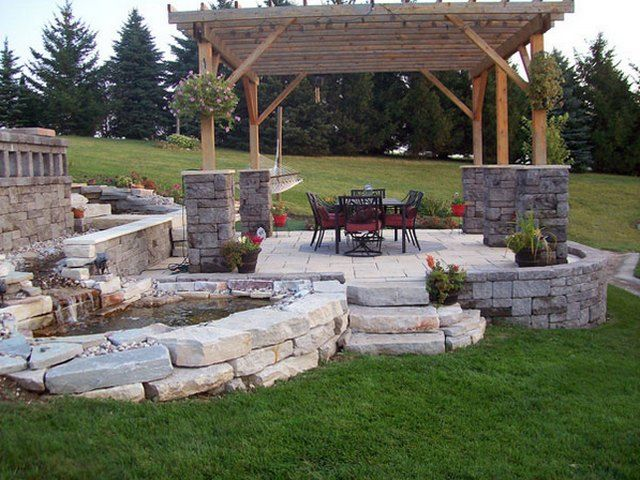 emejing backyard stone patio design ideas pictures - home iterior ... - Stone Patio Designs With Fire Pit