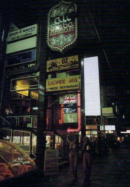 Pretoria Street, Hillbrow. Fish Hook Restuarant, Ali Baba Restaurant, Lichee Inn Restaurant, Hillbrow Record Exchange, Exclusive Books