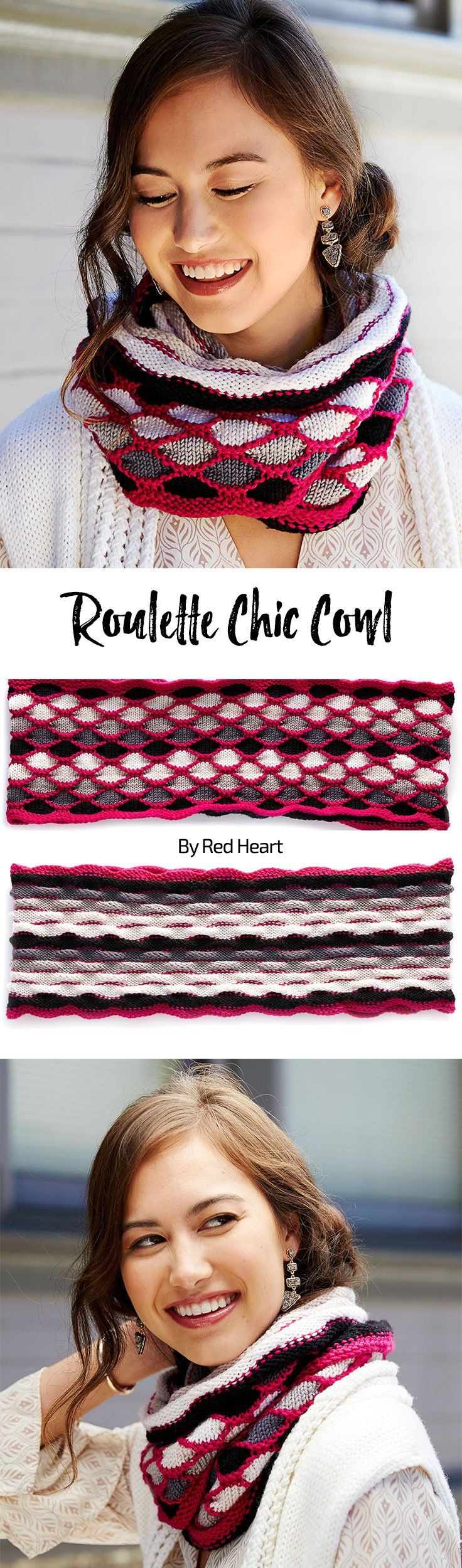 Roulette Chic Cowl free crochet pattern in Dreamy yarn.