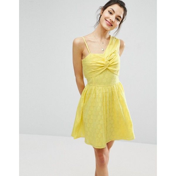 ASOS One Shoulder Mini Sundress in Dobby Fabric ($43) ❤ liked on Polyvore featuring dresses, yellow, mini sun dress, one shoulder mini dress, strappy cami, one sleeve dress and mini dress