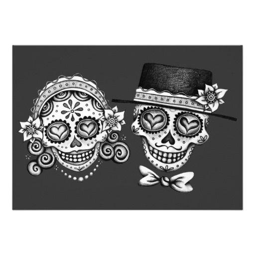 Los Novios Day of the Dead Invitations