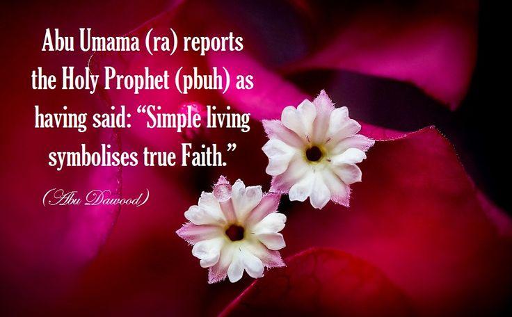Simple life symbolises true fait.  (Islam)