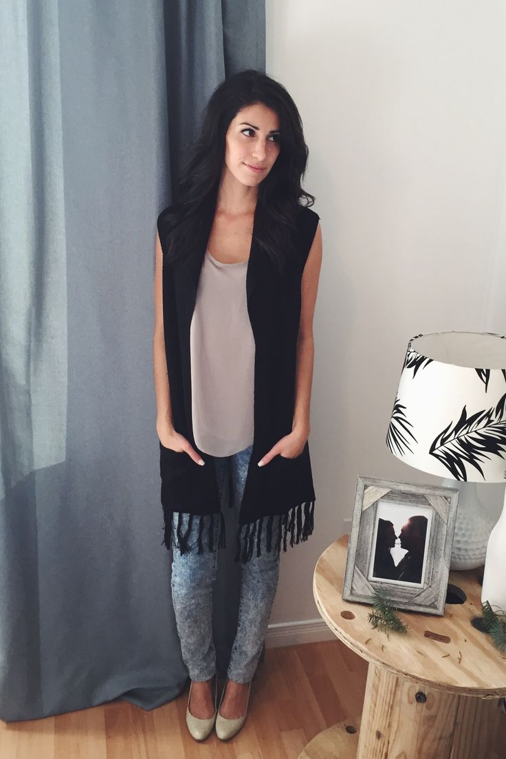#pink #jeans #pale #look #outfit #fashion #highheels #beige #grey #casual #black #knit #style #vest