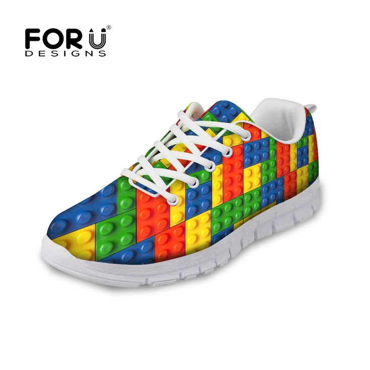FORUDESIGNS 3D Tetris Printed Casual Flat Shoes Woman Lace-up Breathable Comfortable Flats Shoes for Women Ladies Leisure Shoe   #Affiliate
