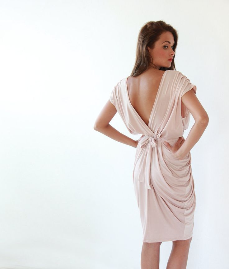 Open Back,Blush Pink Dress. $120.00, via Etsy.