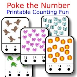 Printable Counting FREEBIE of the Day: Poke the Number Self-checking Card Set from PrintableKindergarten.com