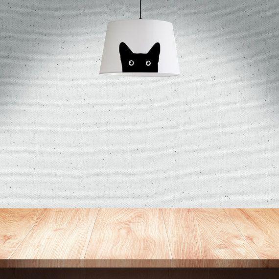Schwarze Katze Lampe Schatten 34 cm 13.4 in Stoff von meretant