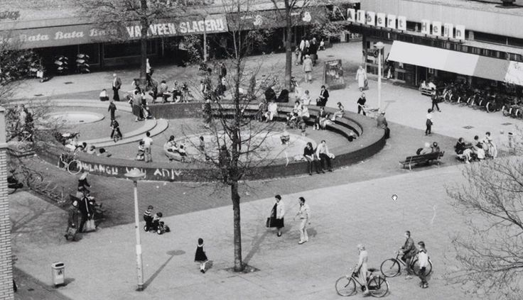 1960's. View of Osdorpplein in Amsterdam. The Osdorpplein is a square located between Meer en Vaart en Tussen Meer. The square was named, in 1962 after, the Osdorp section of the city, currently known as Oud Osdorp. The Osdorpplein is mainly shopping center, with a shopper hall and the De Meervaart theater. #amsterdam #1960 #Osdorpplein