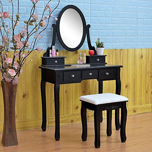#FCH #Vanity #Set with Mirror&Stool #Dressing #Table #Bedroom #Bathroom #Vanity #Makeup #Table #Set Large Storage Capacity: This beautiful #vanity #table #set comes with five built-in drawers with crystal handles - perfect for storing cosmetics, hair products, jewellery, accessories and other small essentials.A smooth tabletop provides more space for cosmetics and beauty supplies. It also includes a matching wooden stool with padded seat. Elegent&Stylish Design: This #vanity