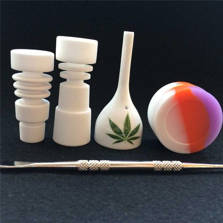 14mm & 18mm male Ceramic Nail Glass Hookahs Tool Set with Carb Cap Dabber Tool Slicone Jar Dab Container VS Titanium Nail #Affiliate