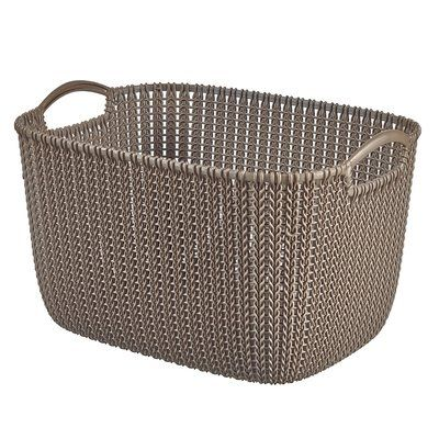 "Keter Curver Knit Rectangular Nesting Plastic Basket Color: Harvest Brown, Size: 6.77"" H x 8.55"" W x 11.42"" D"
