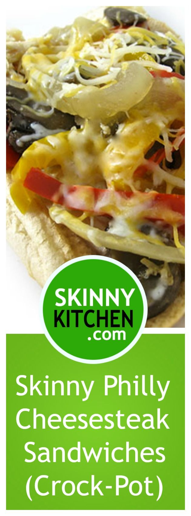 Skinny Philly Chicken Cheesesteak Sandwiches in the Crock-Pot. Each delicious, very filling sandwich has 280 calories, 7g fat and 7 SmartPoints. https://www.skinnykitchen.com/recipes/skinny-philly-chicken-cheesesteak-sandwiches-in-the-crock-pot/