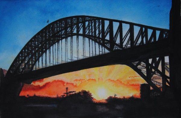 Harbour Bridge – Sydney, Auastralia, aquarelle, 54 x 35, Arches 300gr, original is SOLD, Exclusive high end imprint on aquarelle paper - 100 Euro
