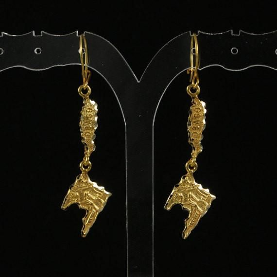 10Kt Trinidad Map Earring
