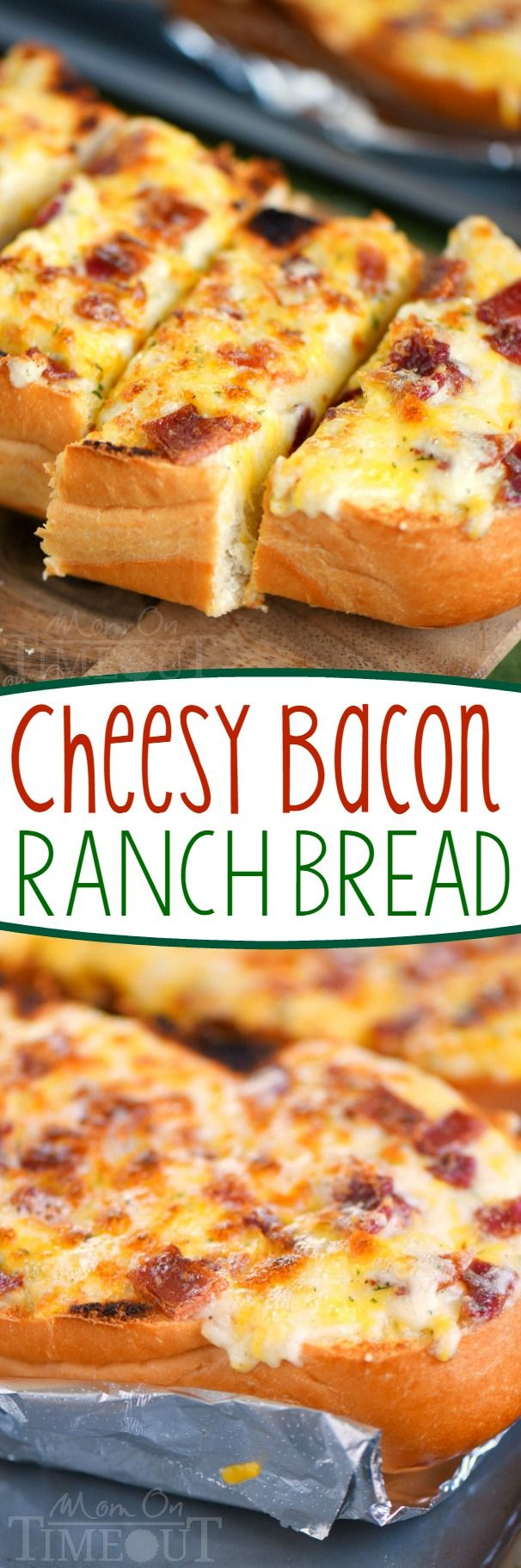 I've put all your favorites together in this fantastic and easy Cheesy Bacon Ranch Bread! Make it in the oven or on grill - it's your choice! A tasty addition to game day or any meal!: