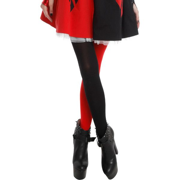 Black Red Split Leg Tights Hot Topic ($7.12) ❤ liked on Polyvore featuring intimates, hosiery, tights, red tights, nylon pantyhose, red pantyhose, nylon hosiery and red stockings