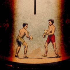 Deux boxeurs animés par le phénakistiscope d'Eadweard Muybridge (1893)