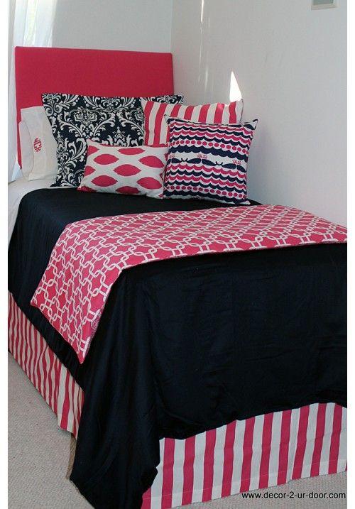 nautical navy preppy pink designer dorm bedding set bags girl dorms and bed in. Black Bedroom Furniture Sets. Home Design Ideas