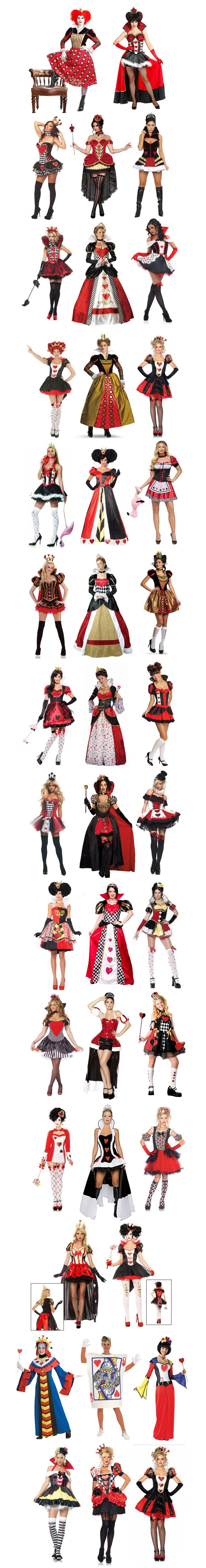 The Queen of Hearts.  She may not be the most popular Disney Villain, but she definitely has the most Halloween costumes!  Here are forty -- that's right --- FORTY different Queen of Hearts costumes -- and there are more out there! Disney Villains Halloween Theme Party & Decoration Ideas