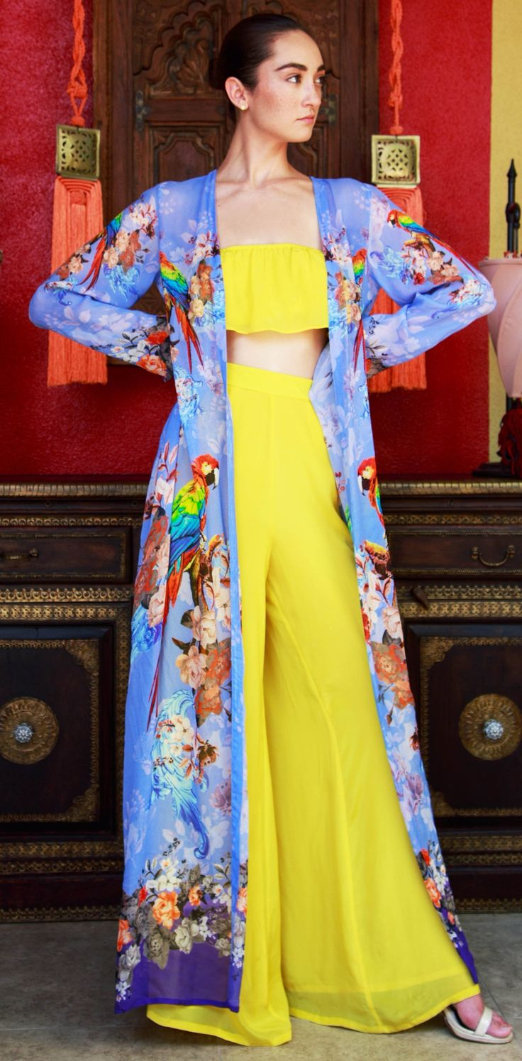 Parides Blue Tropical Bird Print Long Duster