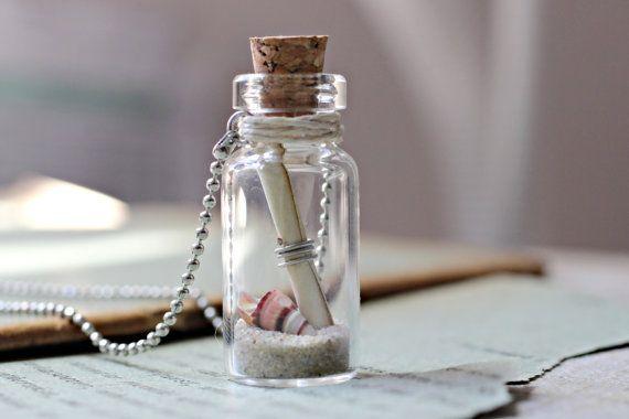 Spiaggia australiana fatta bottiglia collana, collana di amicizia, messaggio segreto In una collana bottiglia, australiano gioielli, gioielli all