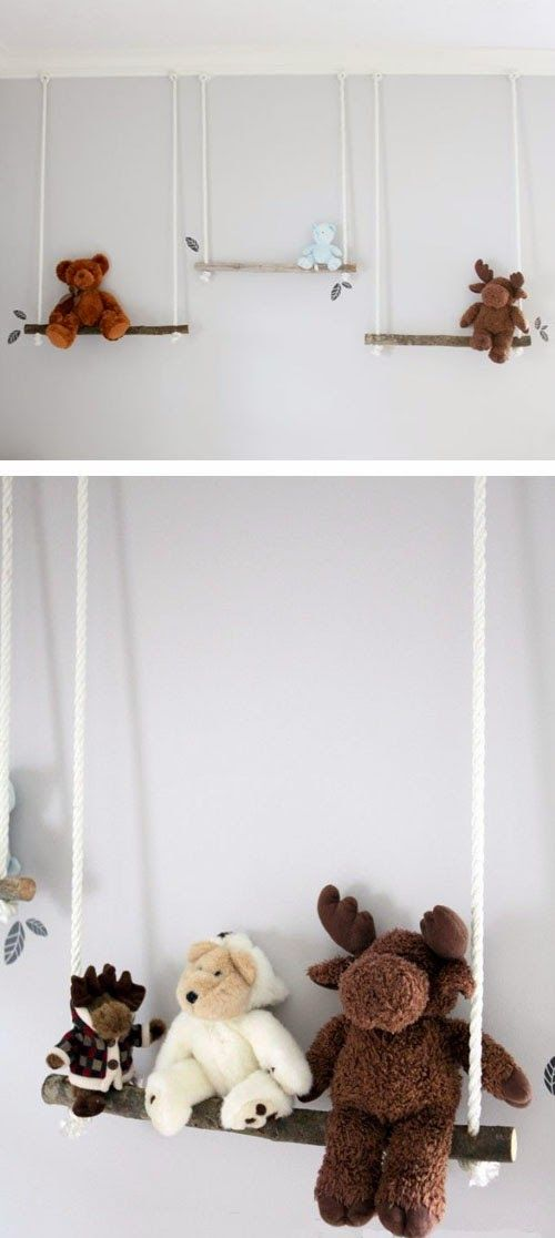 Stuffed Animal Branch Swing – Adoooorable storage and display for stuffed animals in a nursery or child's room!   |   Garden Therapy