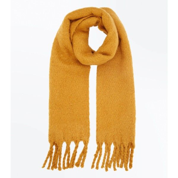 Mustard Yellow Boucle Fringed Scarf (£11) ❤ liked on Polyvore featuring accessories, scarves, corn yellow, mustard shawl, fringe shawl, yellow shawl, yellow scarves and fringe scarves
