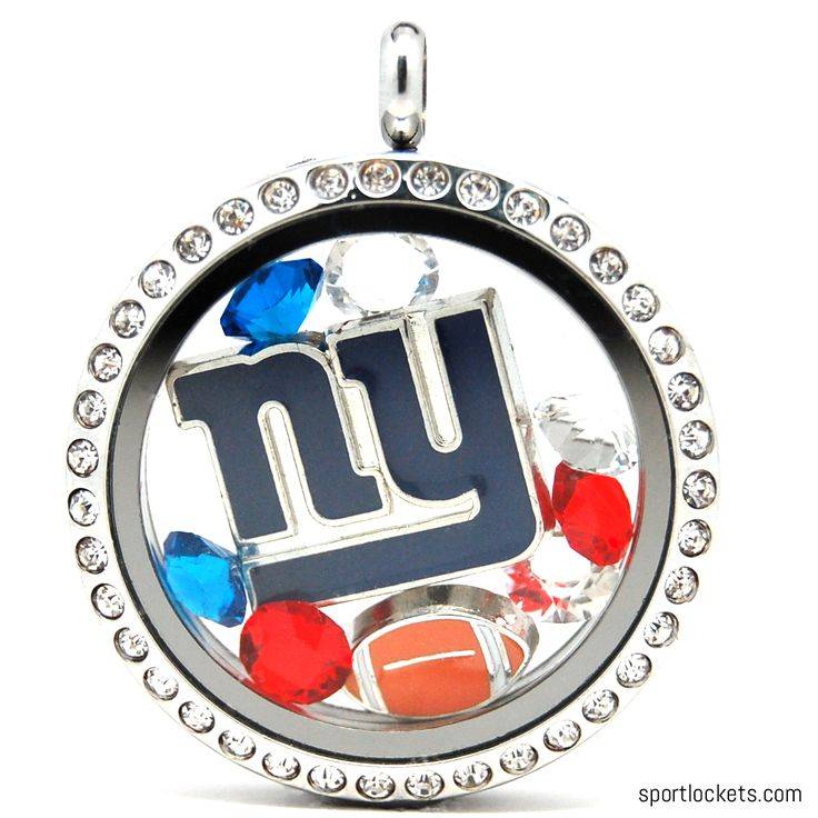 New York NY Giants charm locket necklace from SportLockets.com.  Includes NFL licensed charm, football charm and Swarovski crystals in team colors.  Available in silver, black or gold with your choice of chain.