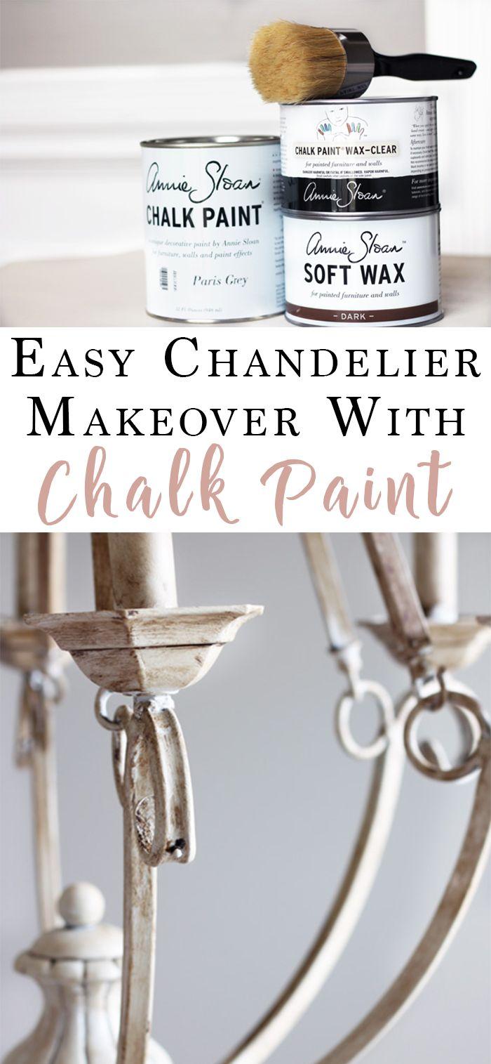 DIY Chalk Paint Chandelier Makeover
