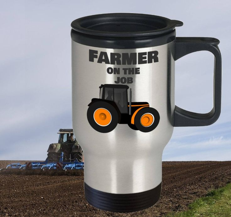 Farmer Travel Mug, Farmer gift, 14oz, Double-Walled, Stainless Steel by PortunaghDesign on Etsy