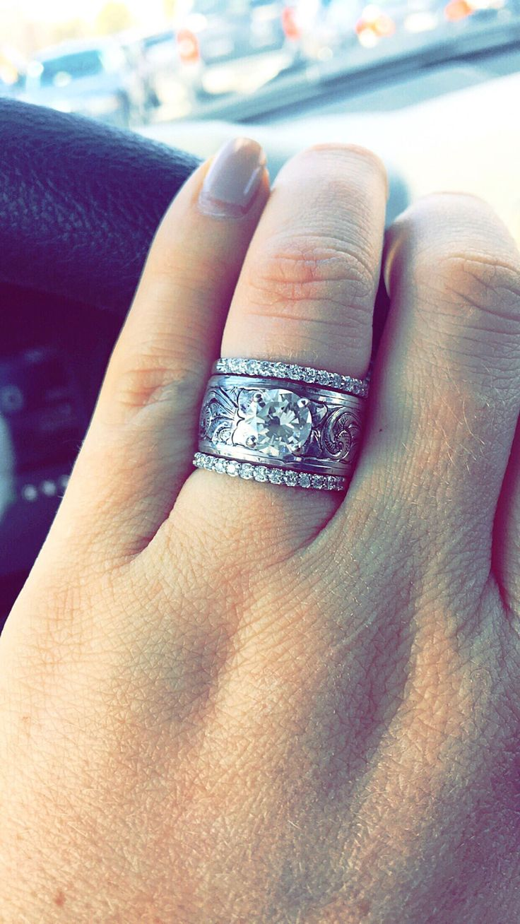 Engagement ring and wedding bands! #engraving #western #engagementring…