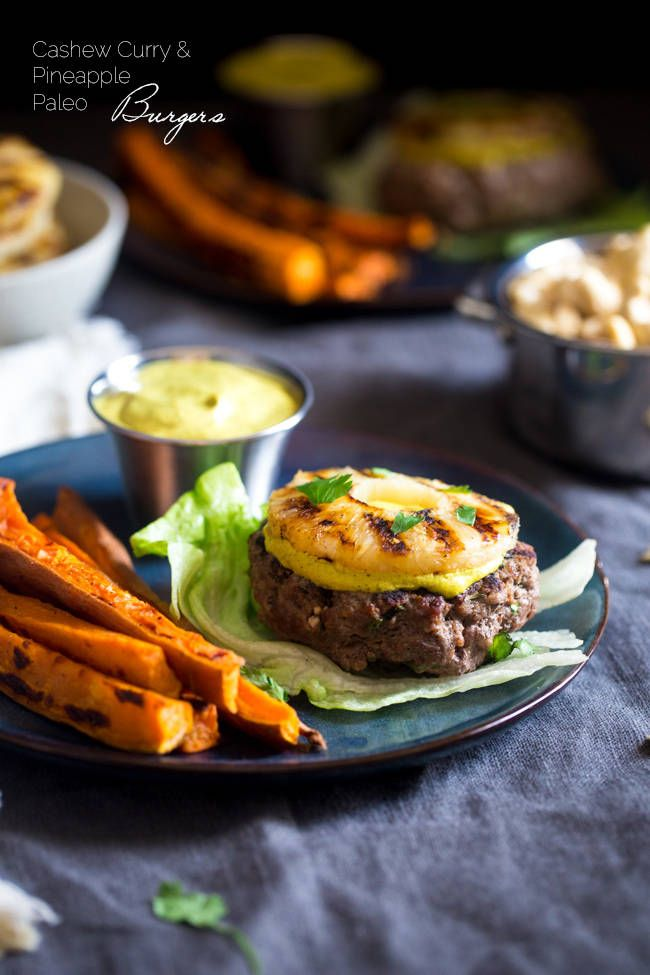 Paleo Burgers with Grilled Pineapple and Curry Cashew Cream - Topped with smooth and spicy curry cashew cream, grilled pineapple and wrapped with lettuce, this burger is a low carb, healthy meal for under 250 calories!   Foodfaithfitness.com   @FoodFaithFit