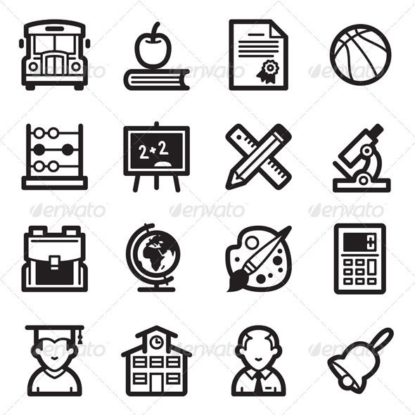 Education Icons Set 1  Simpla Series — Photoshop PSD #school bus #school • A…