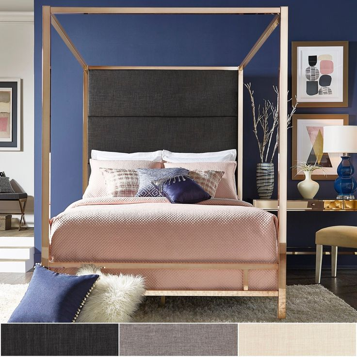 Evie Champagne Gold Metal Canopy Bed with Linen Panel Headboard by iNSPIRE Q Bold | Overstock.com Shopping - The Best Deals on Beds