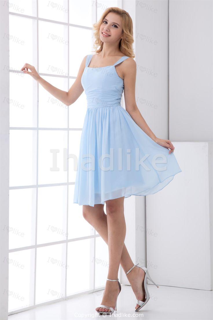 Light Sky Blue Short/ Mini Chiffon Square Petite Bridesmaid Dresses 2014 -Bridesmaid Dresses... needs to be longer