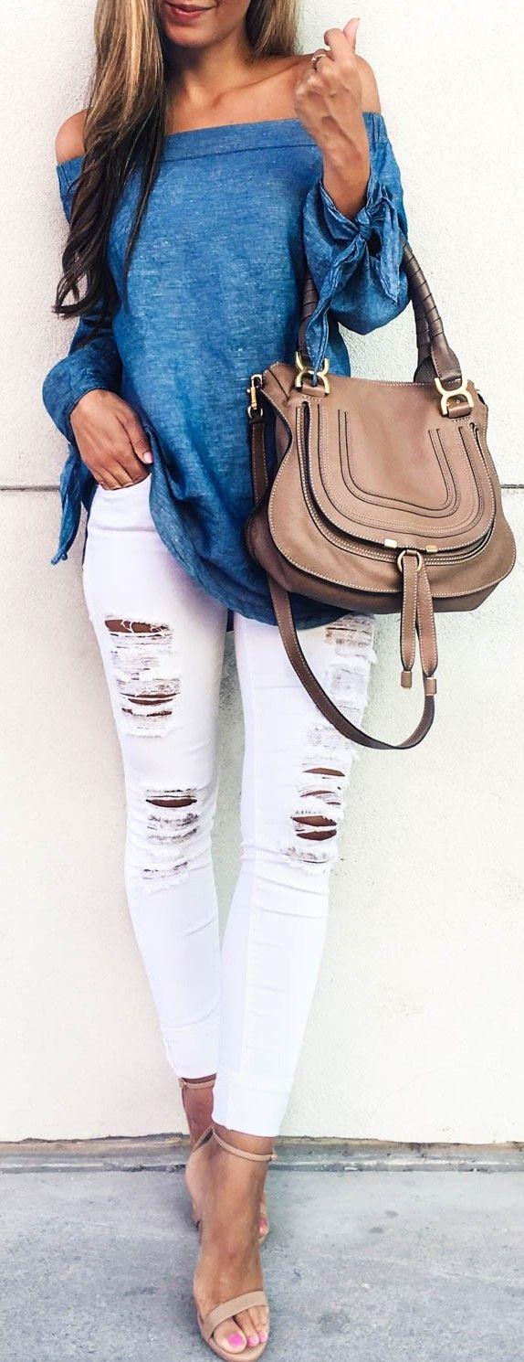 #fall #trending #outfits | Denim Bardot Top + White Ripped Denim