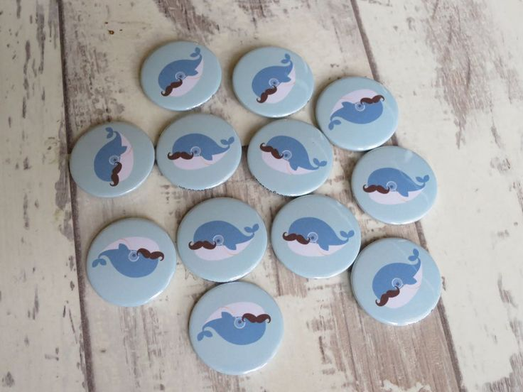 A big blue whale badge sporting a gentleman's moustache. Ideal for movember … – Button badges