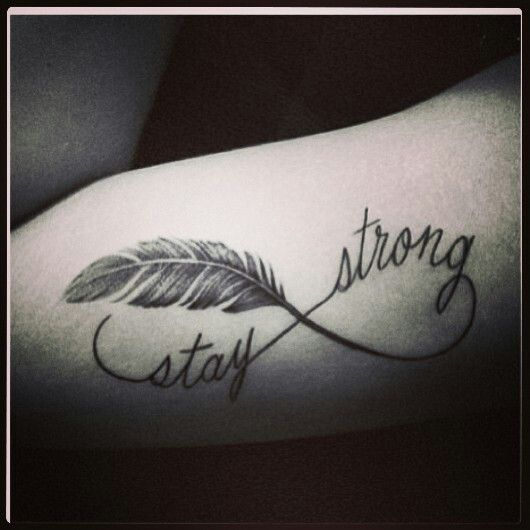 Feather tatoo, infinity sign (: I'm gonna get this tattoo with my kids names instead of stay strong