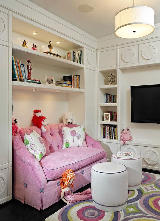 Pink Tufted Sofa - Transitional - girl's room - Fanny Haim and Associates