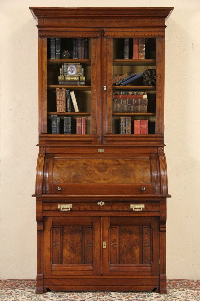 Victorian Eastlake 1870 Cylinder Roll Top Secretary Desk, Bookcase Top - 14 Best Cylinder Desks Images On Pinterest Antique Furniture, Book