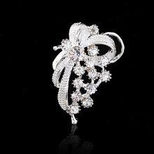Nouveau Douce Tous Les Match Diamante Strass Arc Argent Broche Vêtements Accessoires Écharpe Boucle Livraison Gratuite YBRH-0219-SV(China (Mainland))