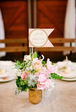 20 DIY Wedding Table Number Ideas | Confetti Daydreams The little bunting table number is definitely cute but I don't know if I want to disrupt my floral arrangements with it. (I am noticing more and more how picky I am, lol.)