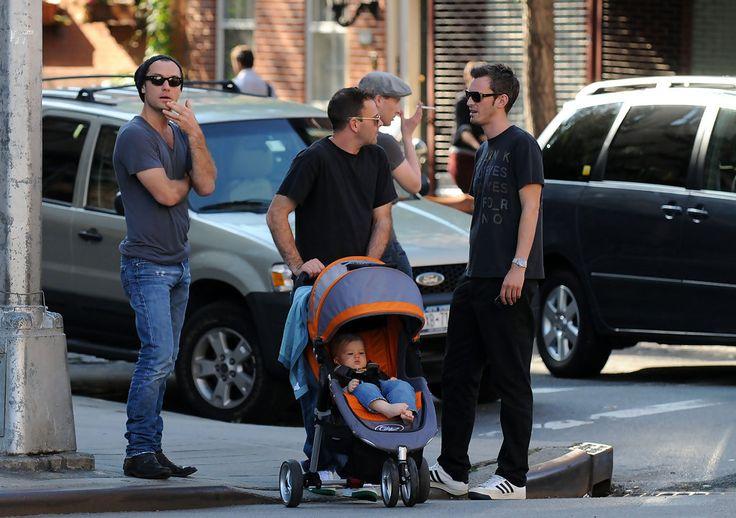 Jude Law and Jonny Lee Miller on a Walk  W/ Buster Miller